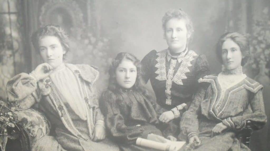 Margaret Clement on the far left, with her sisters Anna, Flora, and Jeannie. Lady of the swamp.