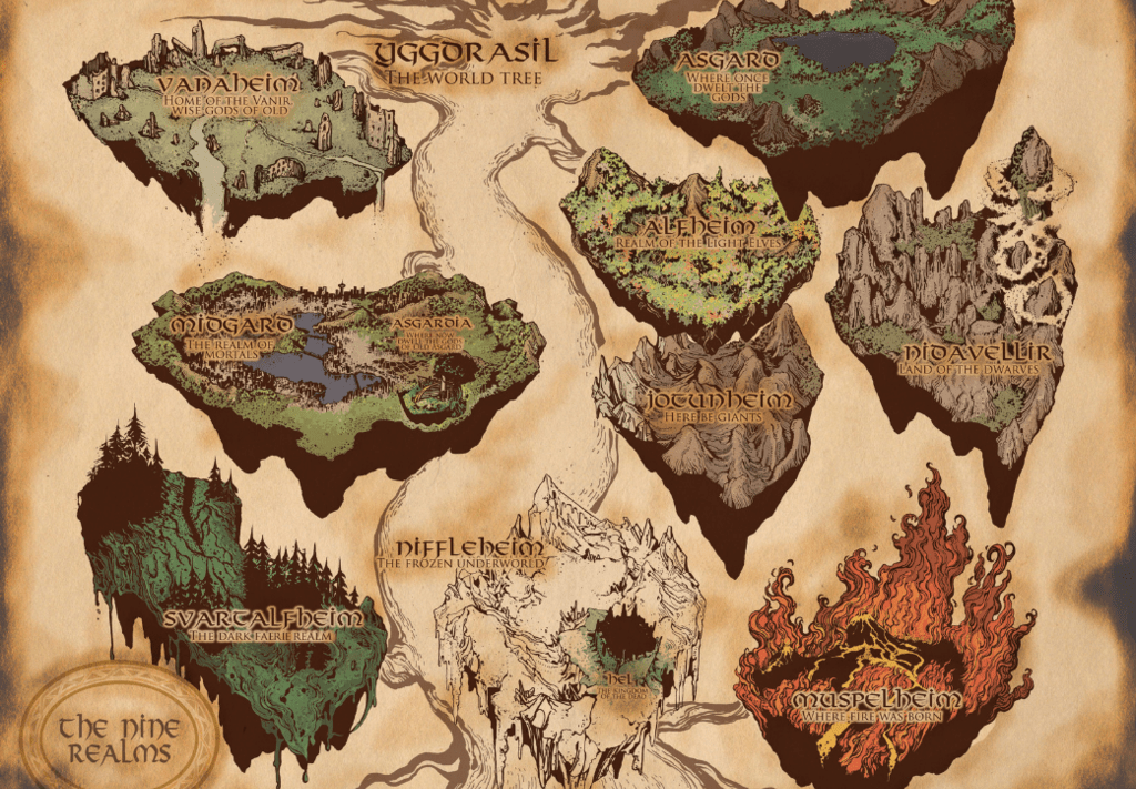Marvel interpretation of Yggdrasil and its nine worlds. Source: Photobucket.