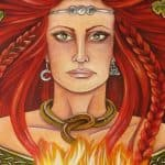 Celtic goddess brigid with her fire
