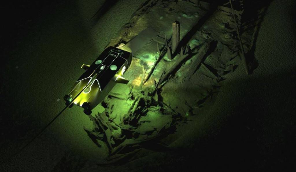 Model image of Byzantine-era Black Sea shipwreck with overlay of the Surveyor ROV. Credit: EEF, Black Sea MAP.