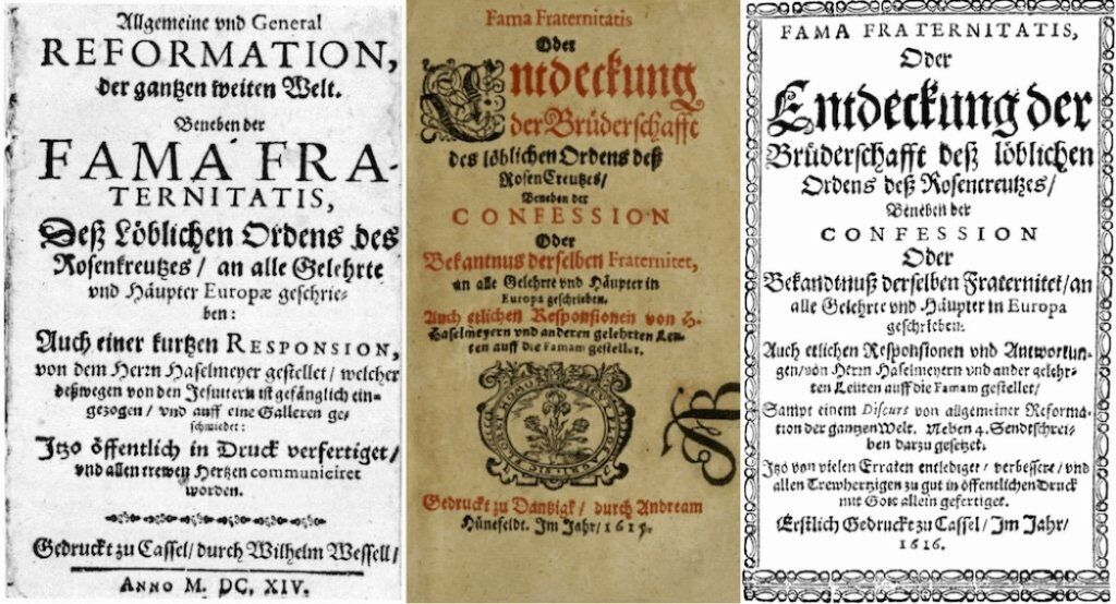 The Fama Fraternitatis and the Confessio Fraternitatis were the first two manifestos printed in the early 1600s.