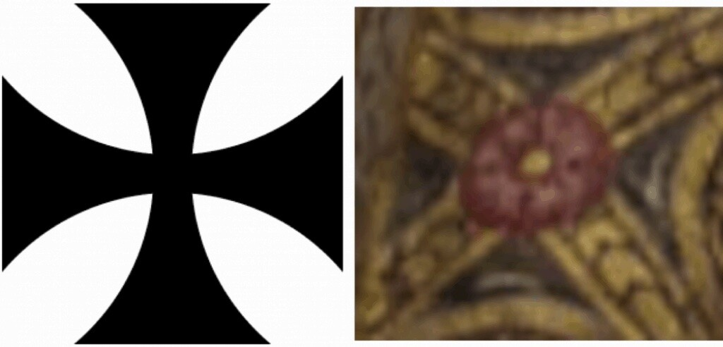 Less noticeable within the criss-cross artwork are Knights Templar crosses (left) with a central rose.