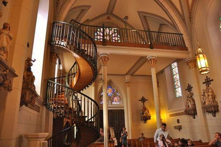 Loretto Chapel staircase and church interior.