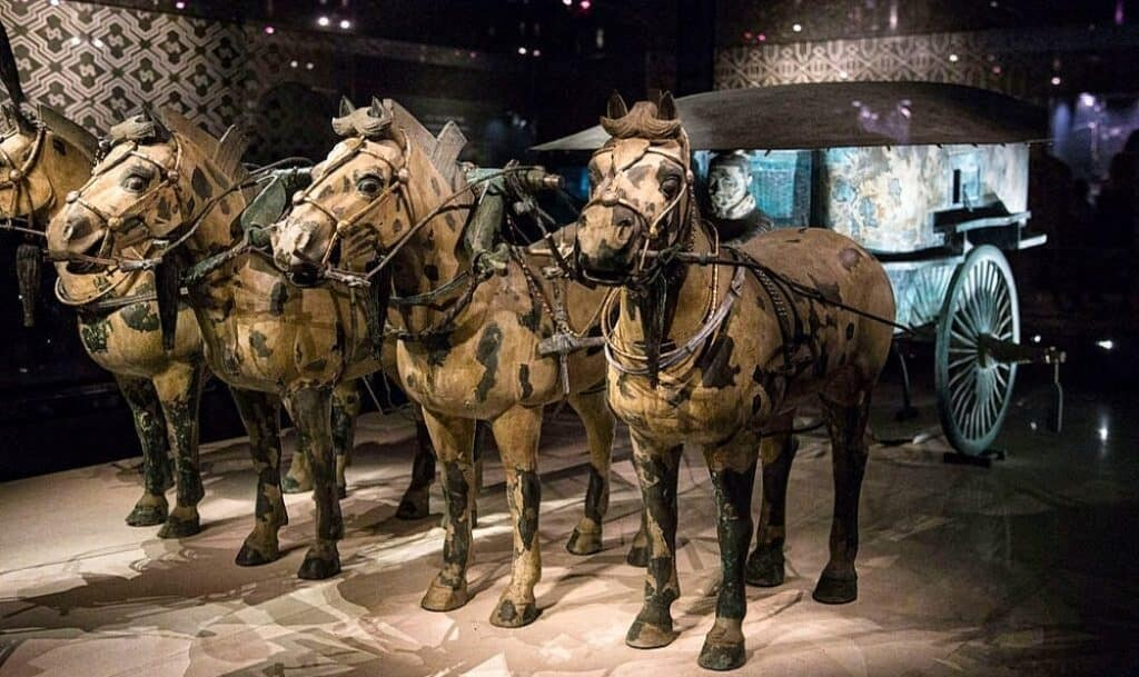 Bronze horses and chariot to transport the emperor in the afterlife.
