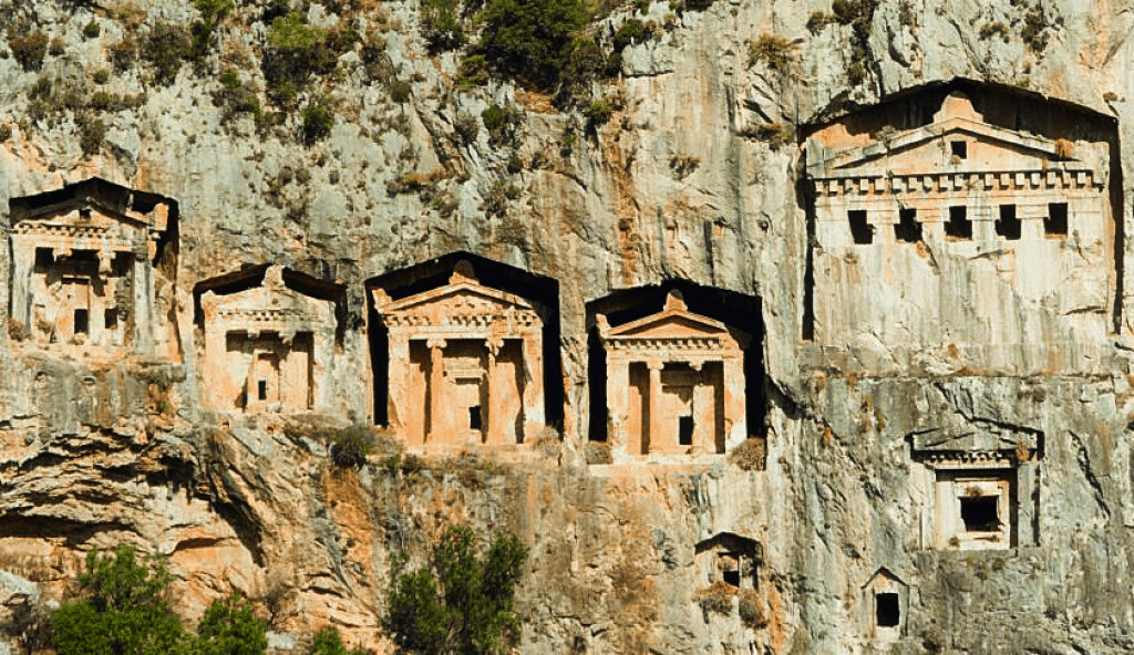 rock cut tombs at Kaunos.