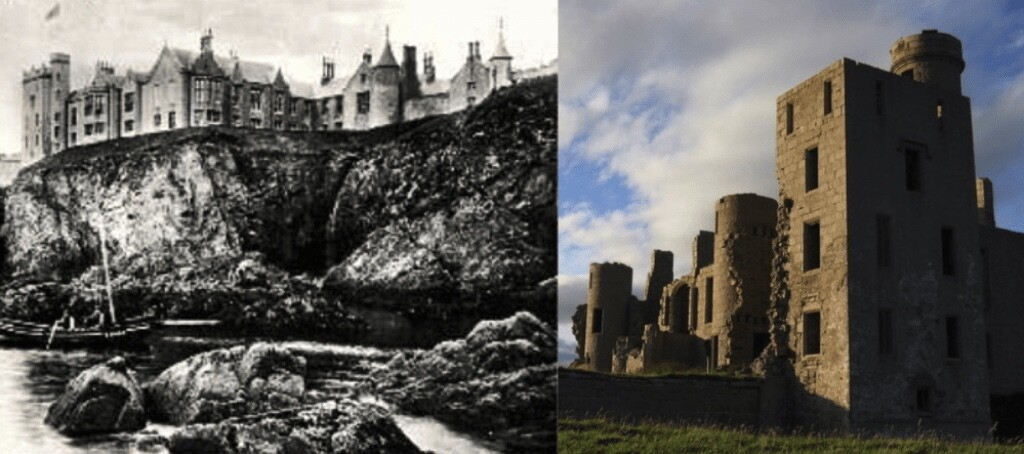 Slains Castle before and after removal of roof. Source: Wikimedia Commons, CC.