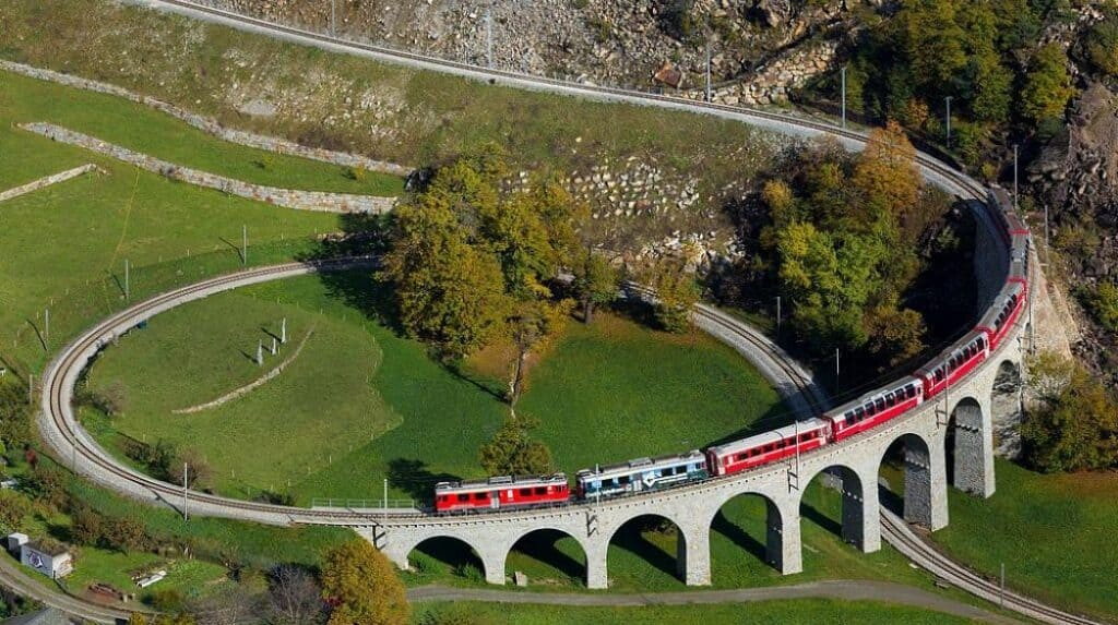 The Brusio Viaduct is one of worlds strange trains.