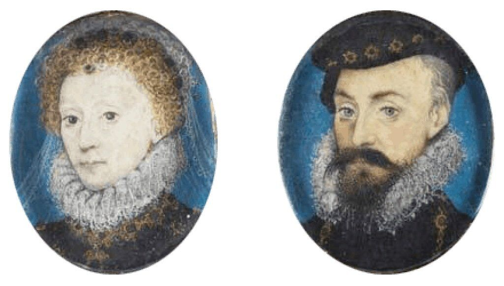 Elizabeth I and her favorite, Robert Dudley. A faithful reproduction of a public domain work of art, circa 1575.