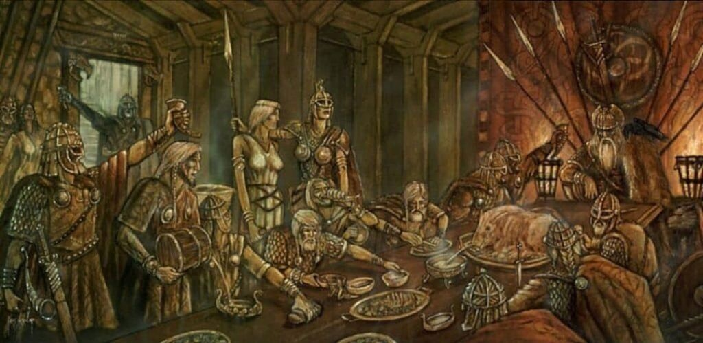 The Einherjar feasted daily on Saerimner the beast and drank mead from Heidrun the goat. Feast in Valhalla.
