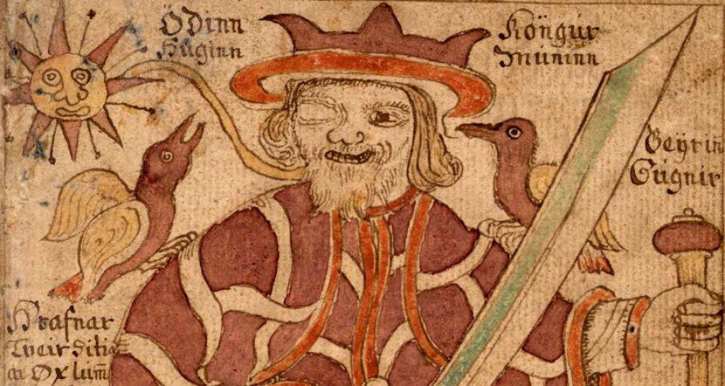 Odin depicted with one eye in the 18th-century Icelandic manuscript.