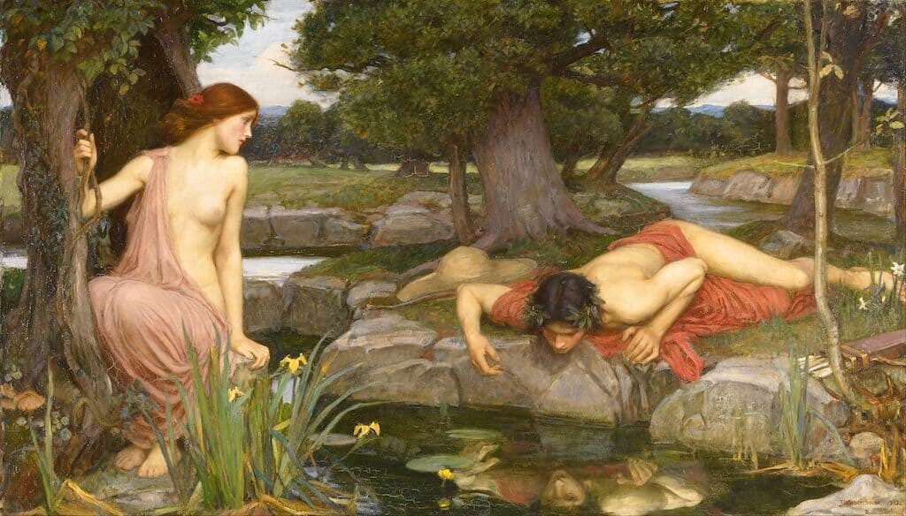 Echo gazes at Narcissus while he longingly peers at his own reflection. J.W. Waterhouse, 1903.