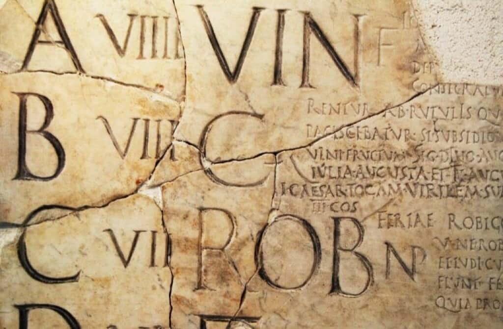 Ancient Roman stone calendar, Fasti Praenestini, circa AD 6. Source: Flickr, Jimnista, National Museum Rome.