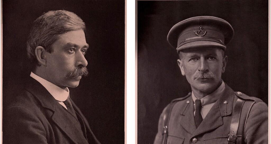 Papyrus experts Bernard Grenfell (L) and Arthur Hunt (R).