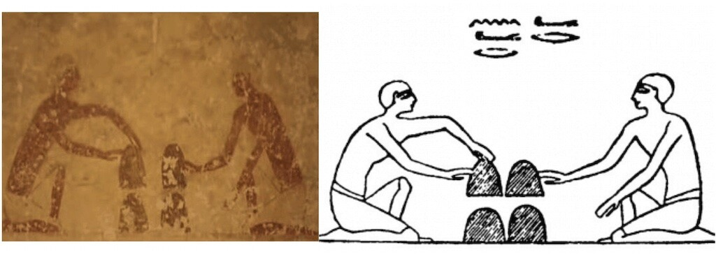 Painting in the tomb of Baqet III, Beni Hasan, Egypt. Could this be the first depiction of the Cup and Balls trick?
