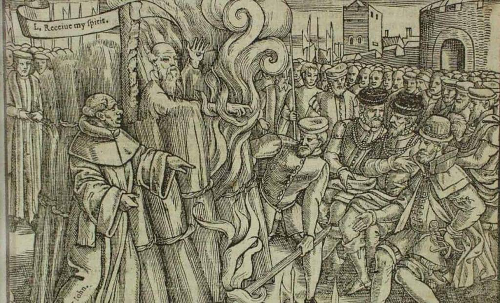 Thomas Cranmer, head of Reformation under Henry VIII, was burned for heresy, as Queen Mary ordered. Public domain.