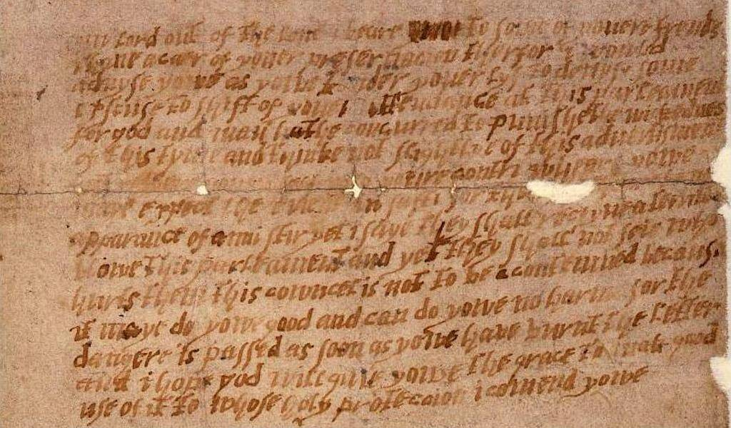 This letter foiled the Gunpowder Treason Plot after an anonymous person sent it to Lord Monteagle, 1605.
