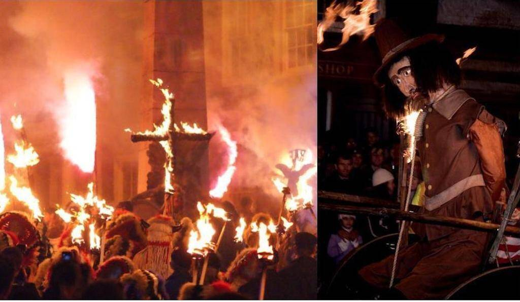 Lewes Bonfire Night is the largest and most famous in the UK. CC (L) Peter Trimming, CC (R) Andrew Dunn.