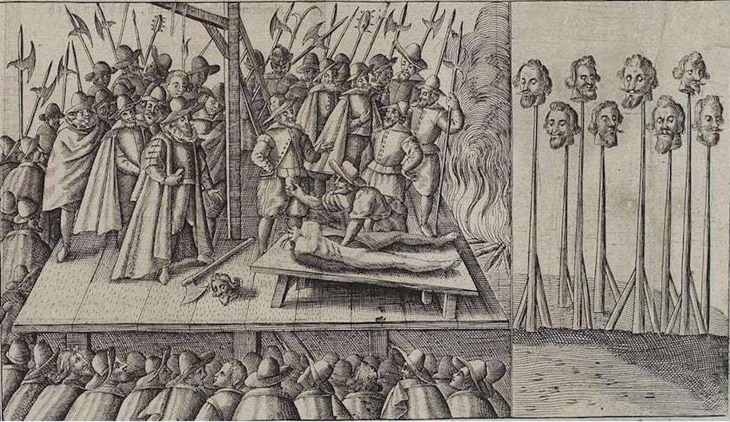 Artist's portrayal of executions of the conspirators in the Gunpowder Treason.