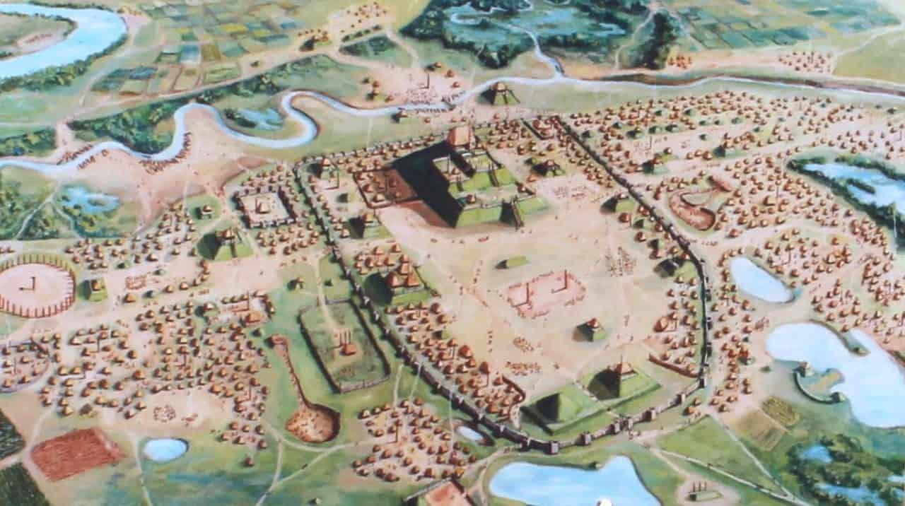 Artist rendering of Cahokia AD 1150-1200.