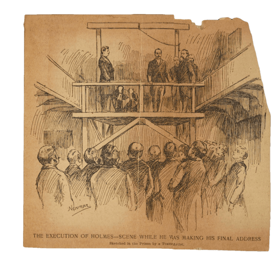 Sketch of hanging of H.H. Holmes.