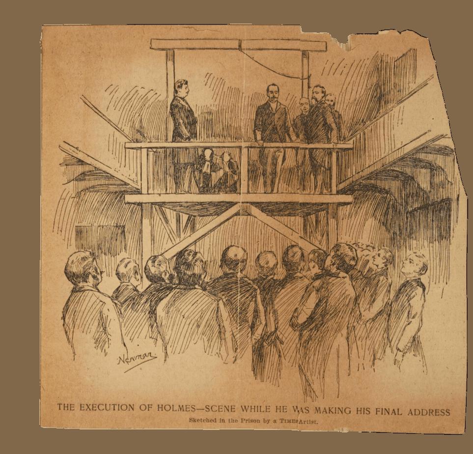 Sketch of hanging of H.H. Holmes.