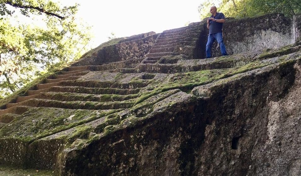 The Etruscan pyramid of bomarzo has odd angles.