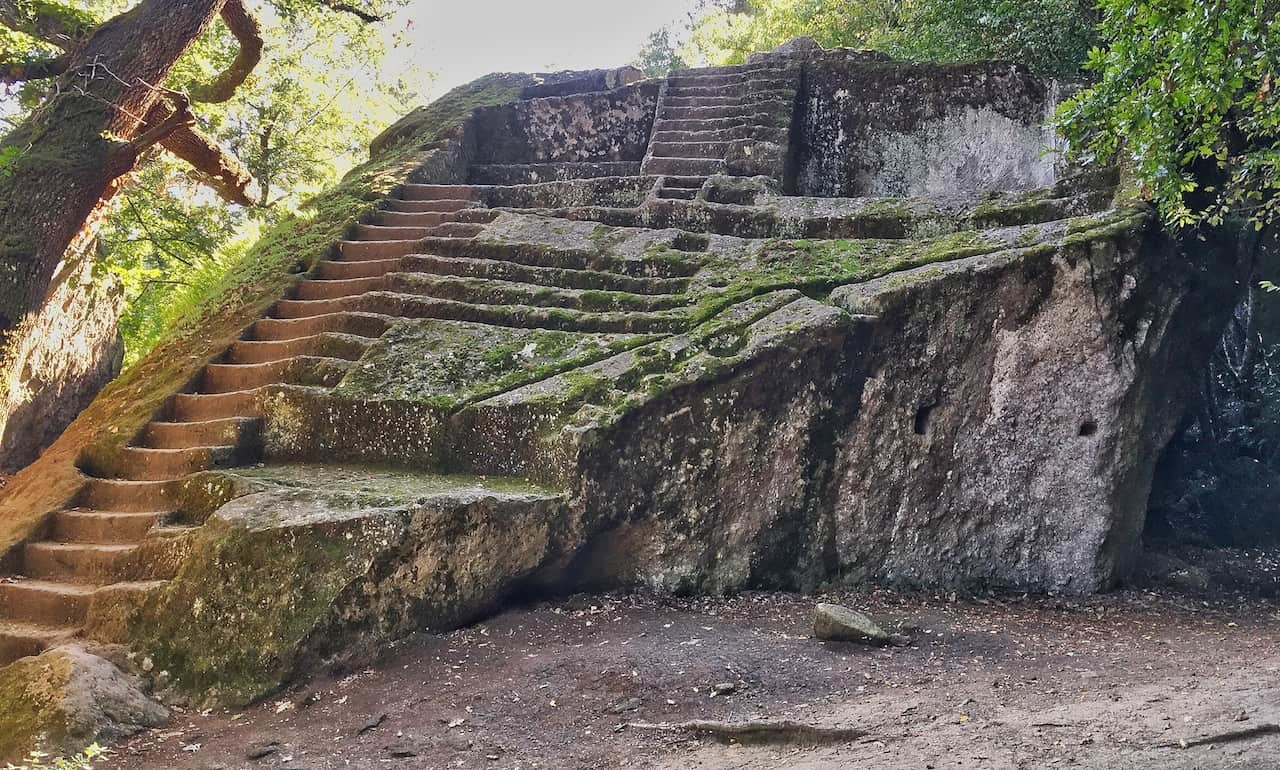 Mysterious Etruscan stairs in the forest of Bomarzo, Italy.