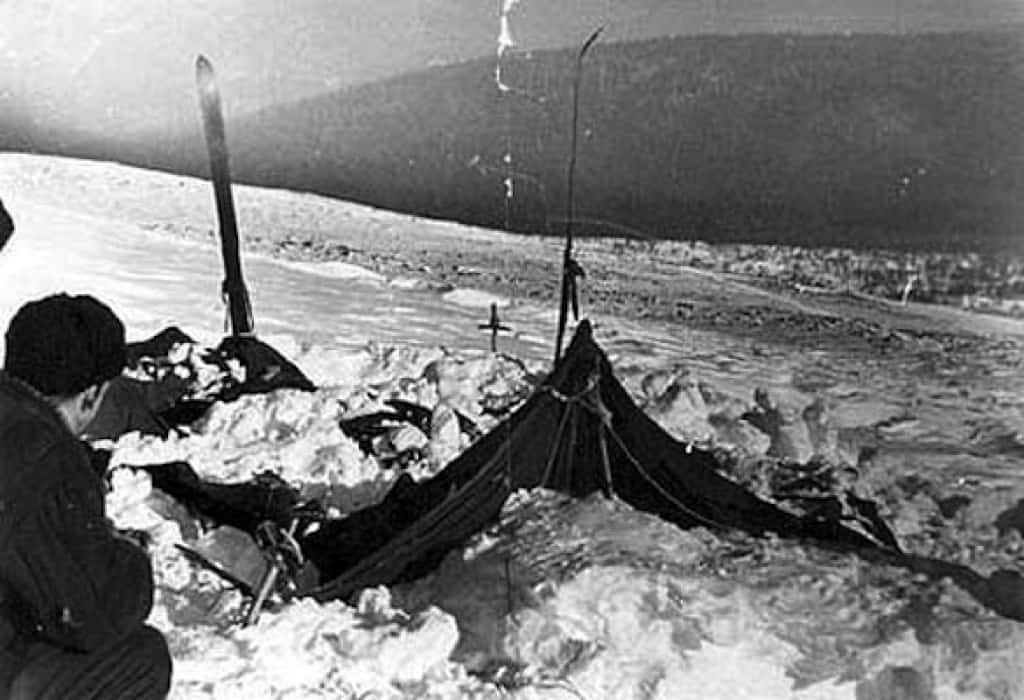 The remains of the students' tent on Dyatlov Pass.