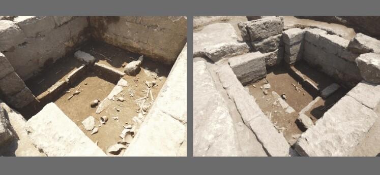 Images show Tomb 9890 in situ with 3 grave beds.. Credit: Baglivo et al.