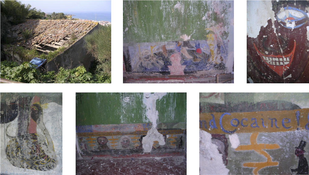 Images de la fresque de Crowley peinte à l'abbaye de Thelema
