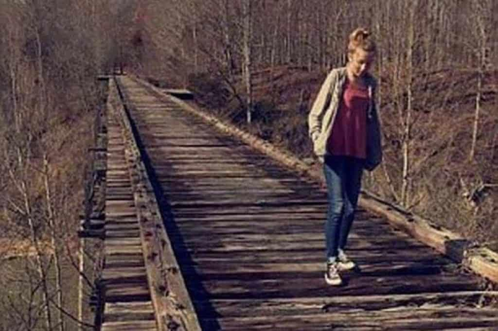 Libby German snapped this cell phone picture of Abby Williams walking on a train track. This image was taken shortly before they were both mysteriously murdered.