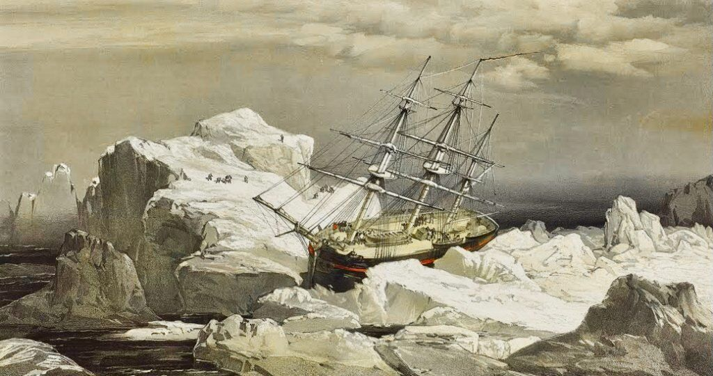 The Franklin expedition was lost after setting sail in 1845 to find the Northwest Passage. Sketch artist, Lt. S. Gurney Creswell, 1854. Public domain.