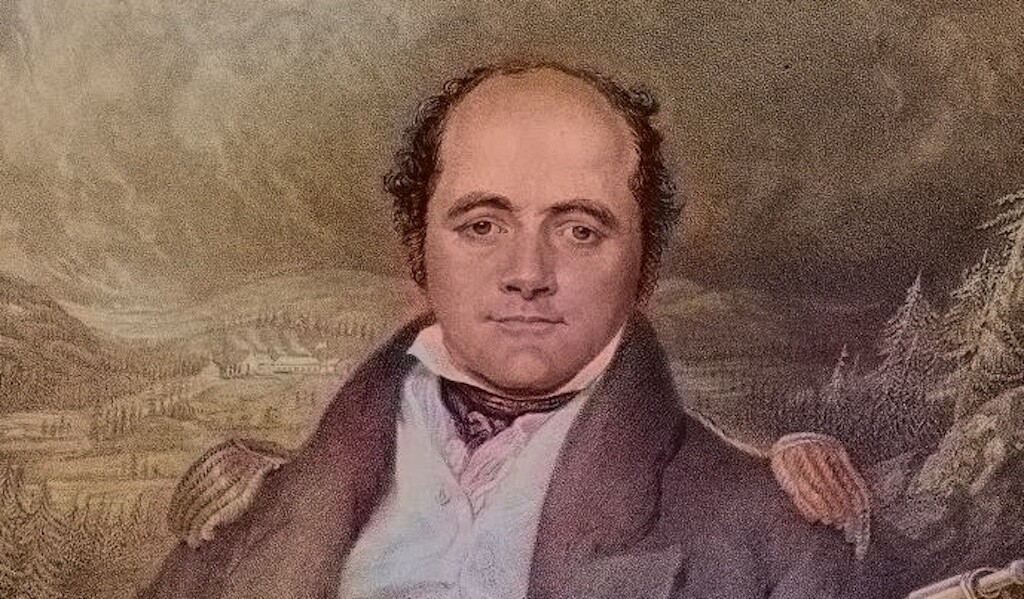 The Commander of the HMS Erebus and HMS Terror, Sir John Franklin. Colorized. Artists G.R. Lewis, F.C. Lewis, 1824. Public domain.