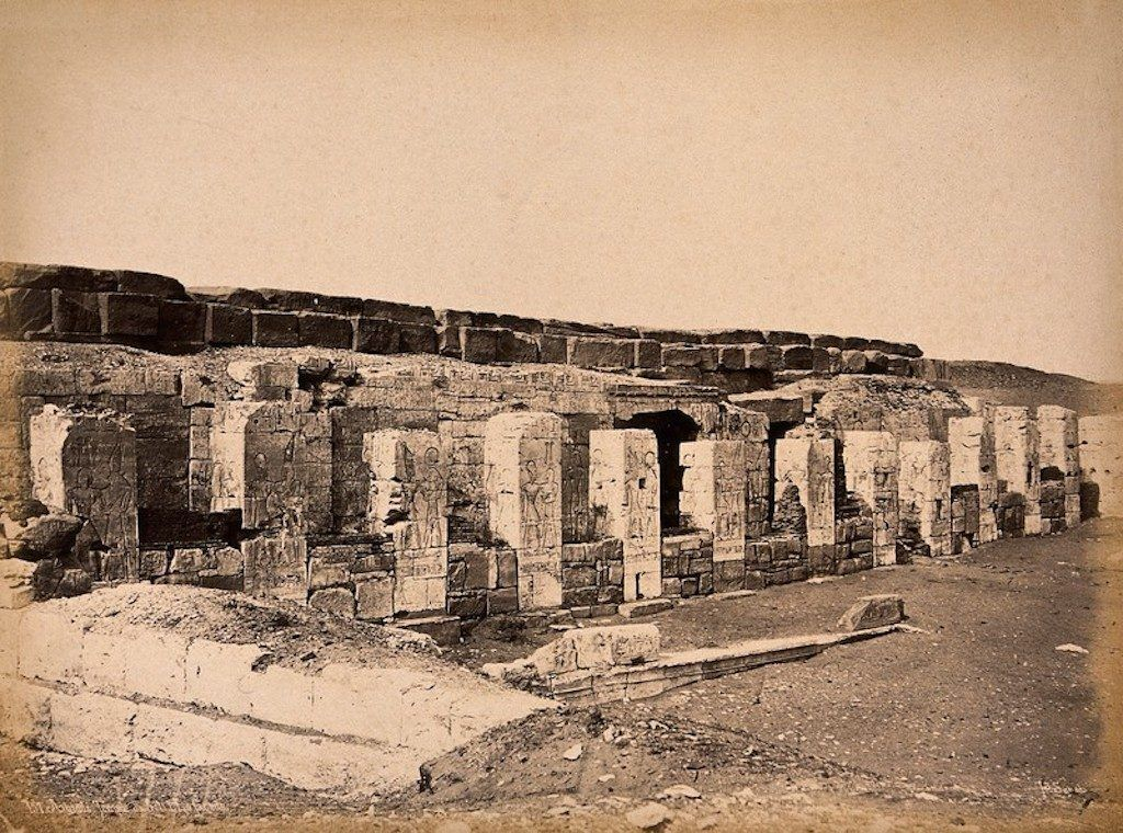 The Temple of Seti I at Abydos, Egypt. Photograph by Pascal Sébah, ca. 1875.