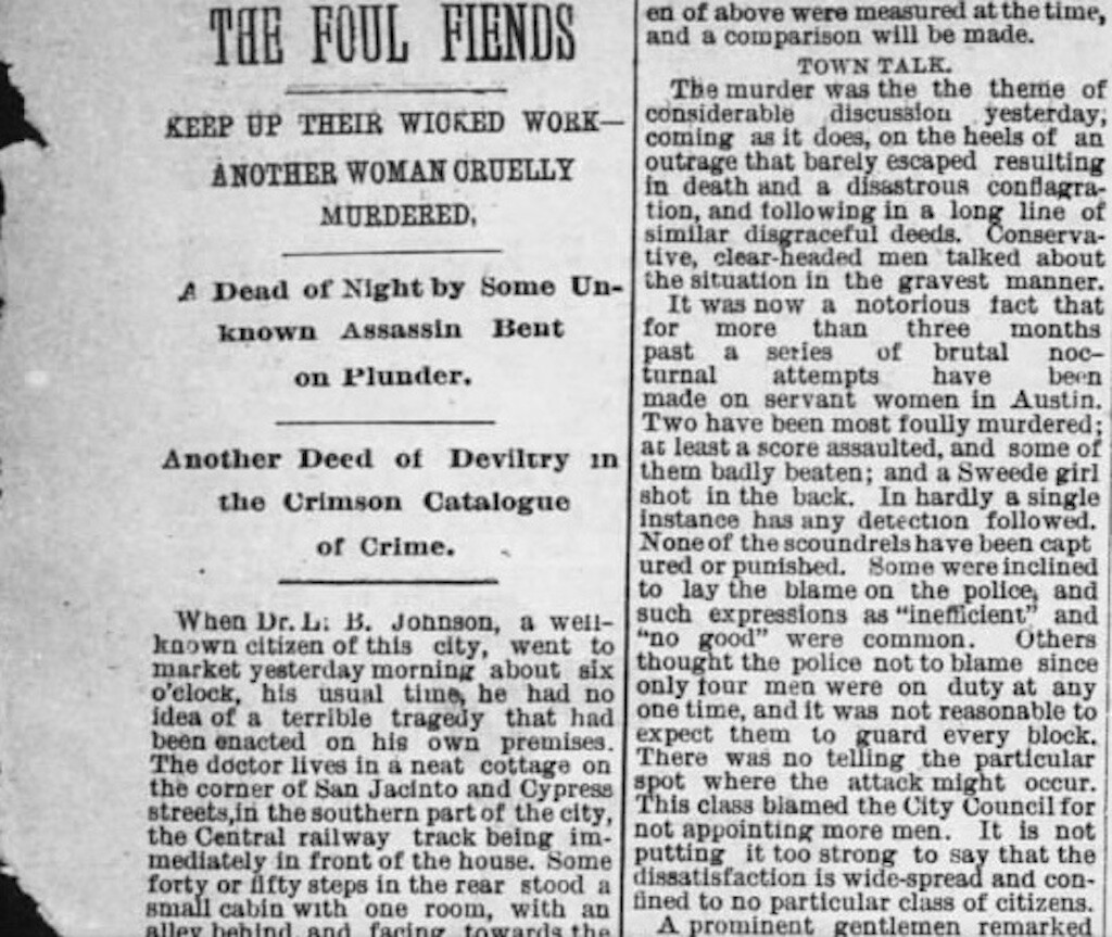 Newspaper clip about the murder of Eliza Shelly. The Austin Weekly Statesman, 1885.