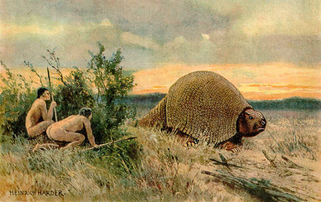 Paleo-Indians hunting a glyptodont.