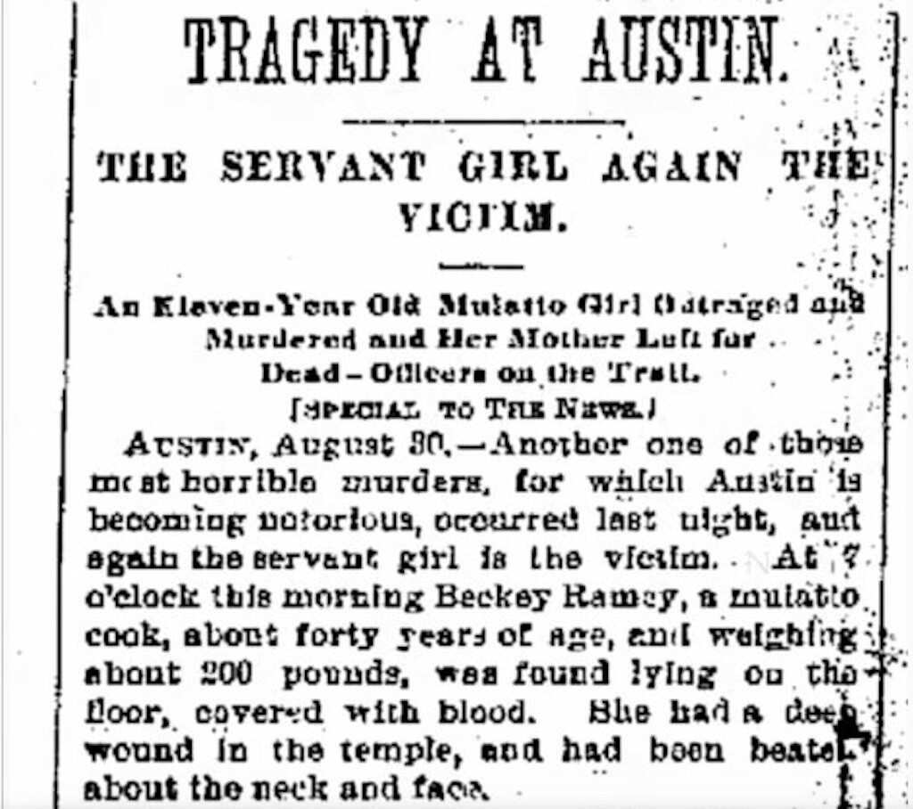 Newspaper clip of Mary Ramey death from the Galveston Daily News, 1885.