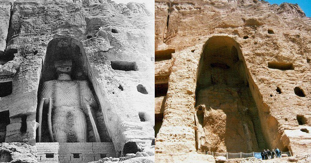 smaller bamiyan buddha before and after