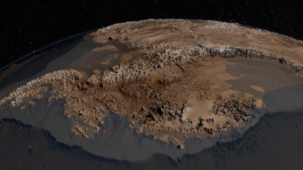 Снимок топографии коренных пород Антарктиды, сделанный в 2001 году.
