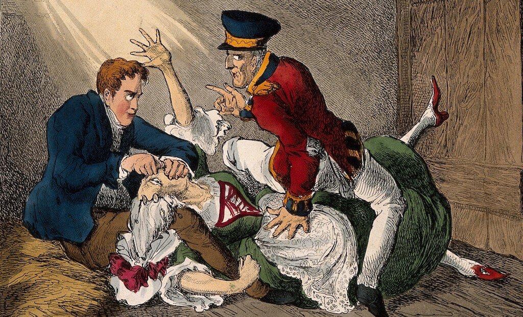 """Burke and Hare shown """"Burking"""" Mrs. Docherty"""