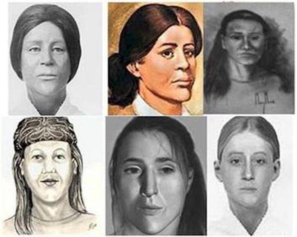Various composite sketches of the Lady of the Dunes. Fair use.