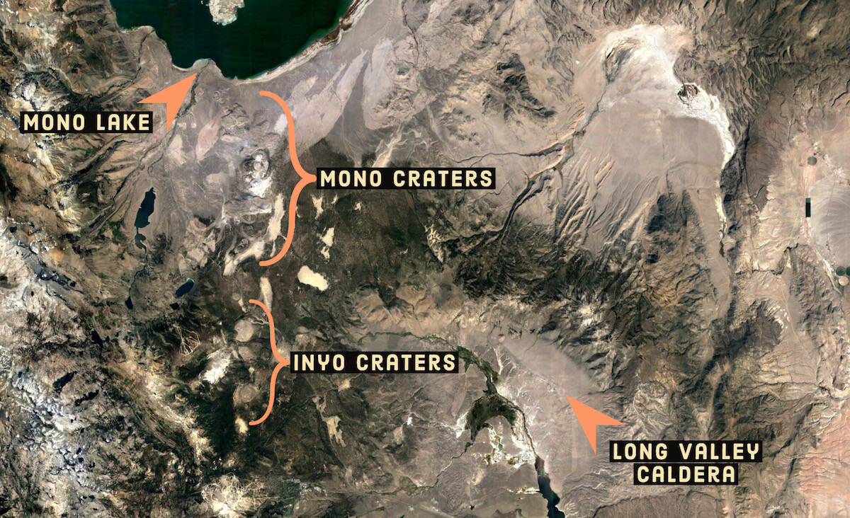 Mono craters, Inyo craters, Long Valley Caldera