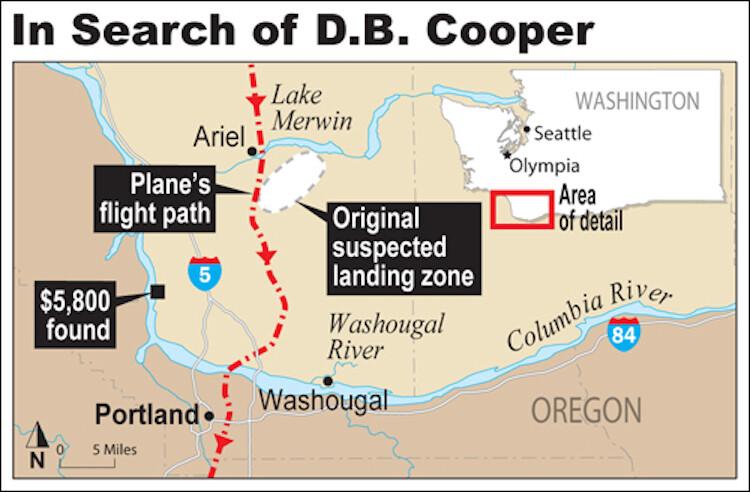 Location of D.B. Cooper Jump.