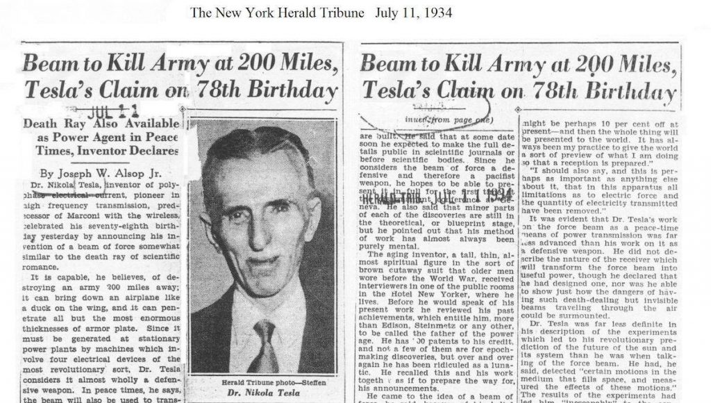 11 July 1934 New York Herald Tribune article discussing the Death Ray.