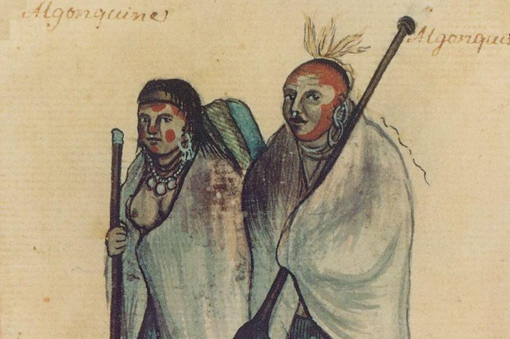 An 18th century watercolor of an Algonquin couple. Public domain.