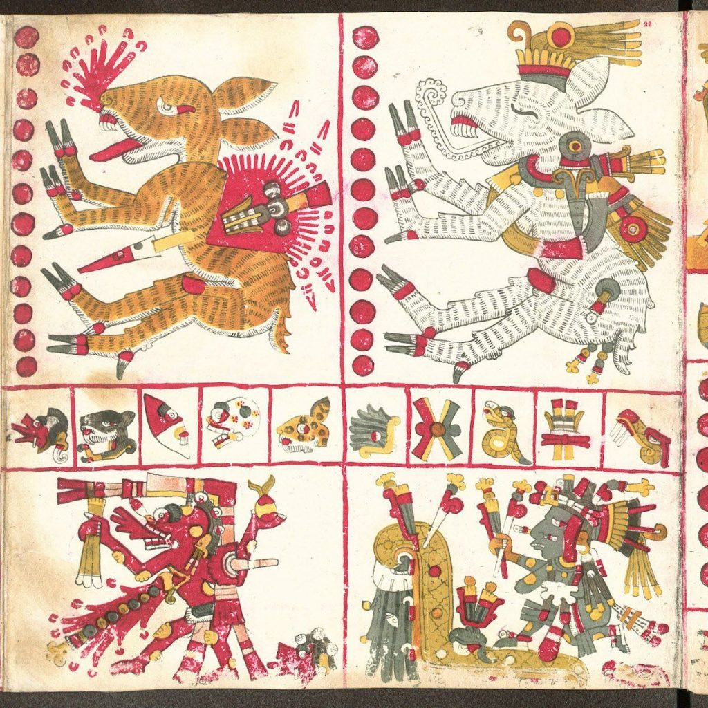 Page 22 of the Aztec manuscript Codex Borgia shows these images of the Nagual.