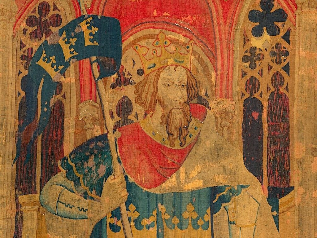 A depiction of King Arthur (from the Nine Heroes Tapestries), circa 1385 CE.