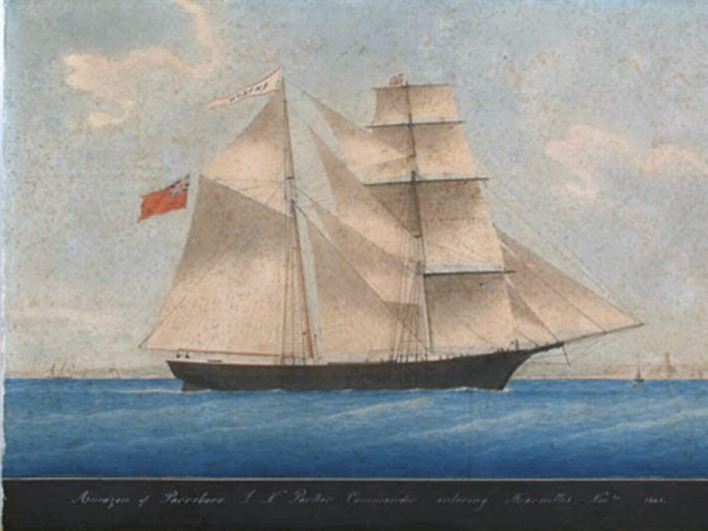 "Brigantine ""Amazon"" entering Marseilles in November 1861. She was later renamed ""Mary Celeste"""