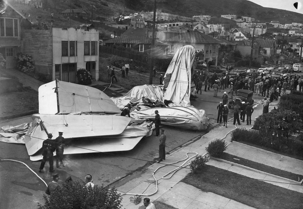 Recovery efforts take place with the crashed Navy airship.