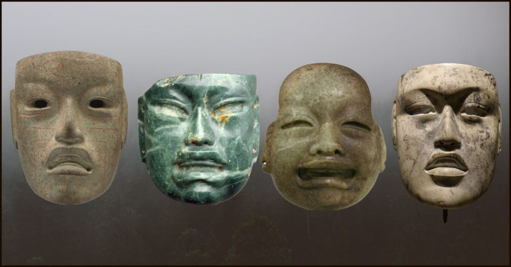 Various ornamental masks from 1000 BCE to 300 BCE.